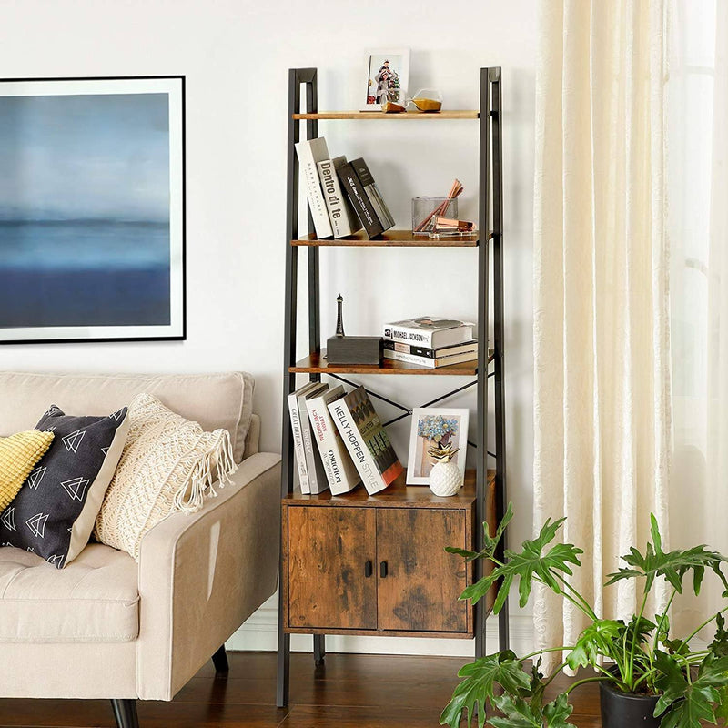 VASAGLE Ladder Shelf, Bookshelf with Cupboard, Living Room Shelf, 4 Shelves, Stable Iron Frame, Bedroom, Office, 56 x 34 x 173 cm, Industrial Design, Rustic Brown LLS47BX