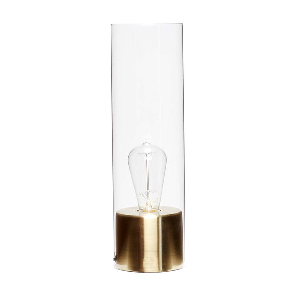 Bordlampe i messing/glas