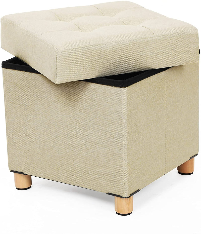 SONGMICS Collapsible Cube Ottoman Storage and Foot Stool with Wooden Feet and Lid 38 x 38 x 40 cm (W x D x H) Beige LSF14BE