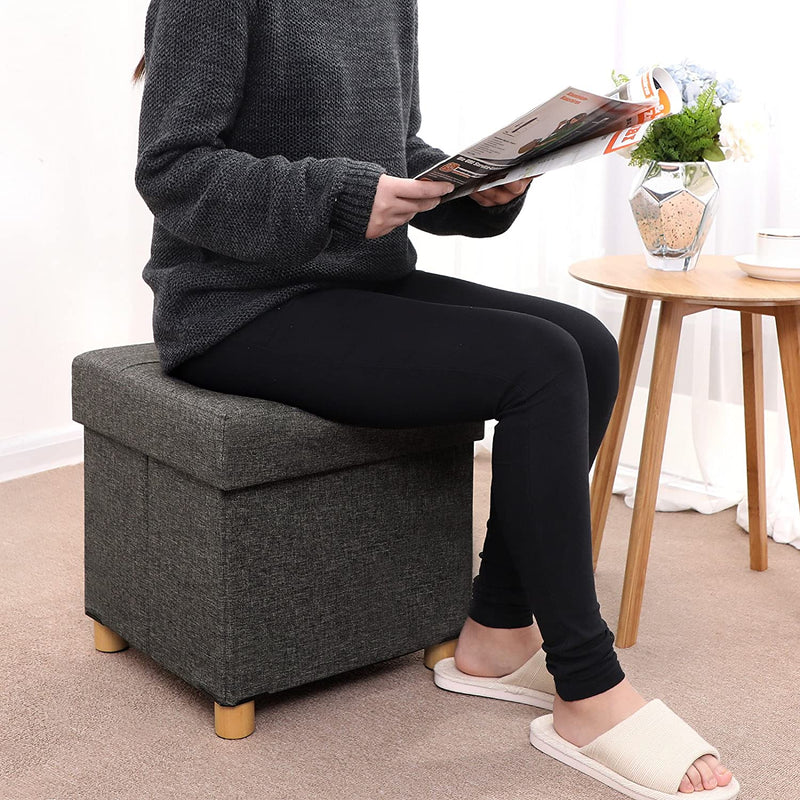 SONGMICS Collapsible Cube Ottoman Storage and Foot Stool with Wooden Feet and Lid Dark Grey LSF14GYZ