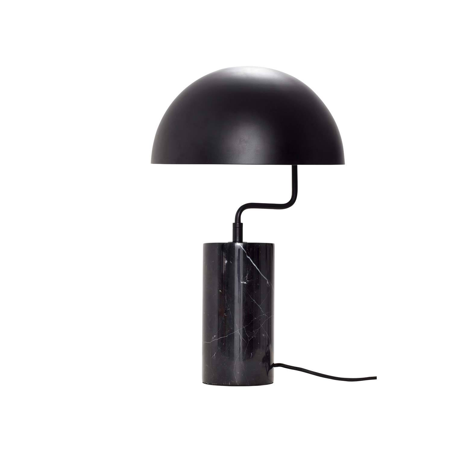 Image of   Bordlampe i sort, metal/marmor