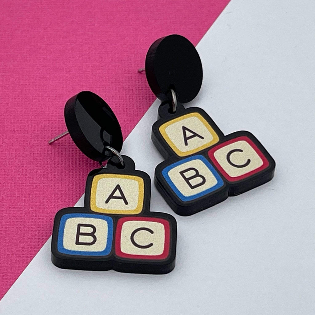 Handmade by 925Ltd Acrylic Earrings Surgical Steel ABC Acrylic Earrings