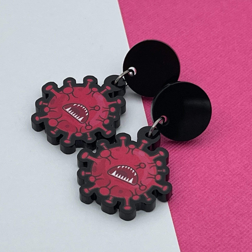 Handmade by 925Ltd Acrylic Earrings Surgical Steel Coronavirus Acrylic Earrings