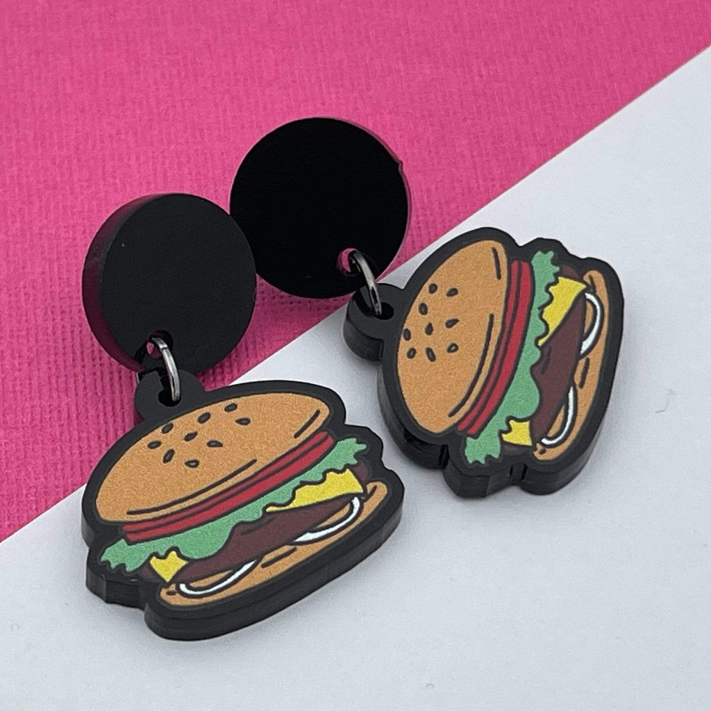 Handmade by 925Ltd Acrylic Earrings Surgical Steel Hamburger Acrylic Earrings
