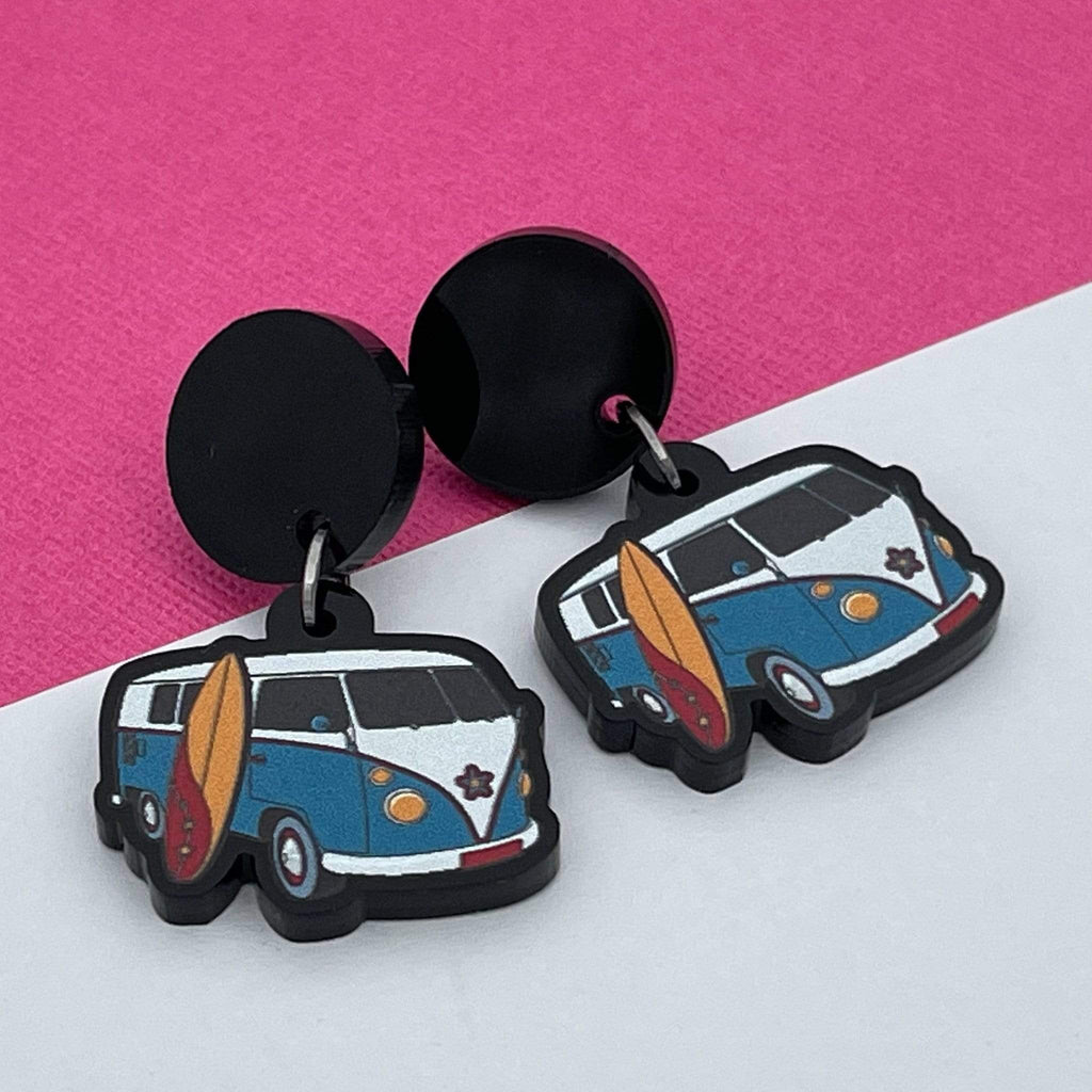 Handmade by 925Ltd Acrylic Earrings Surgical Steel Kombi Van Acrylic Earrings