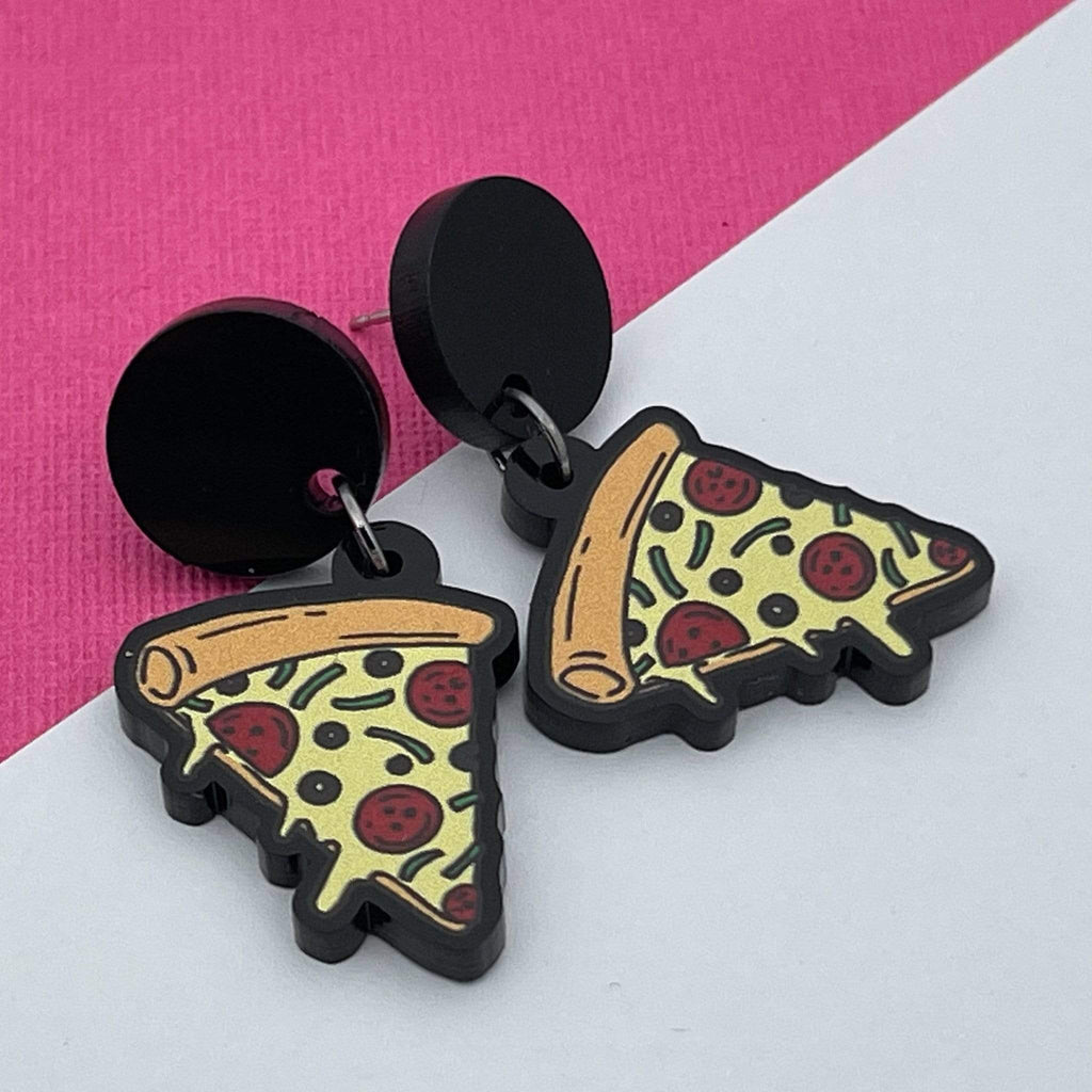 Handmade by 925Ltd Acrylic Earrings Surgical Steel Pizza Acyrlic Earrings