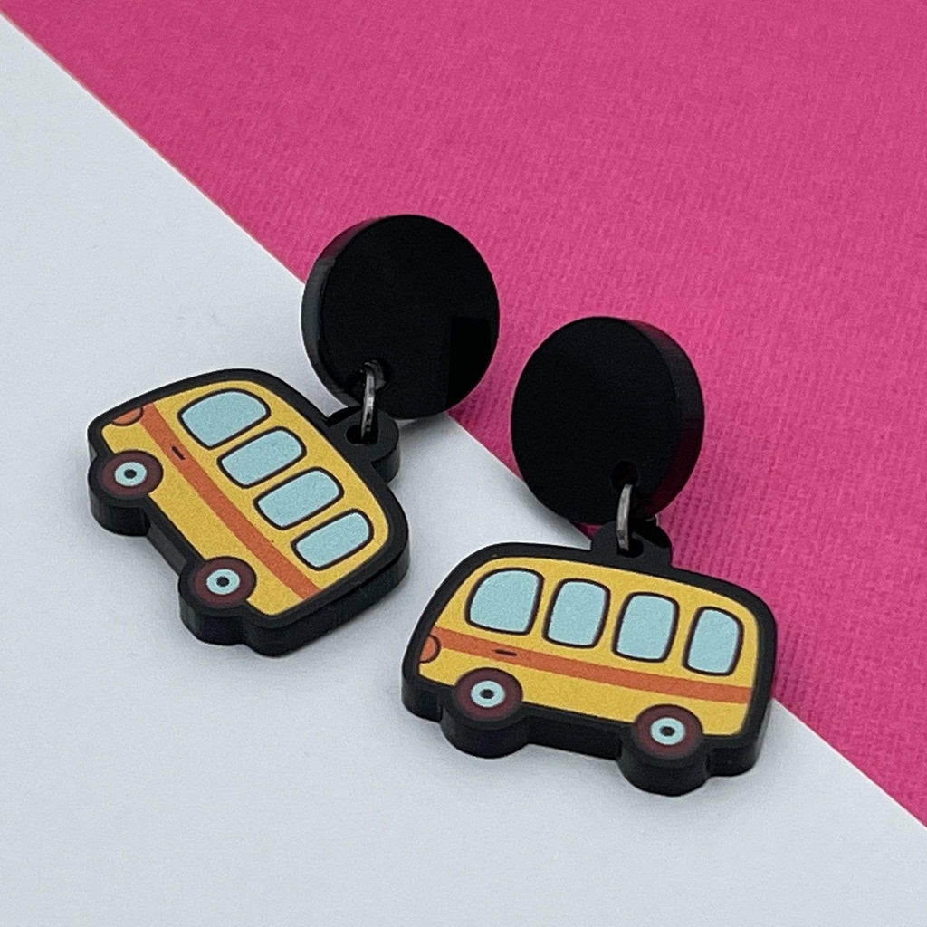 Handmade by 925Ltd Acrylic Earrings Surgical Steel School Bus Acrylic Earrings