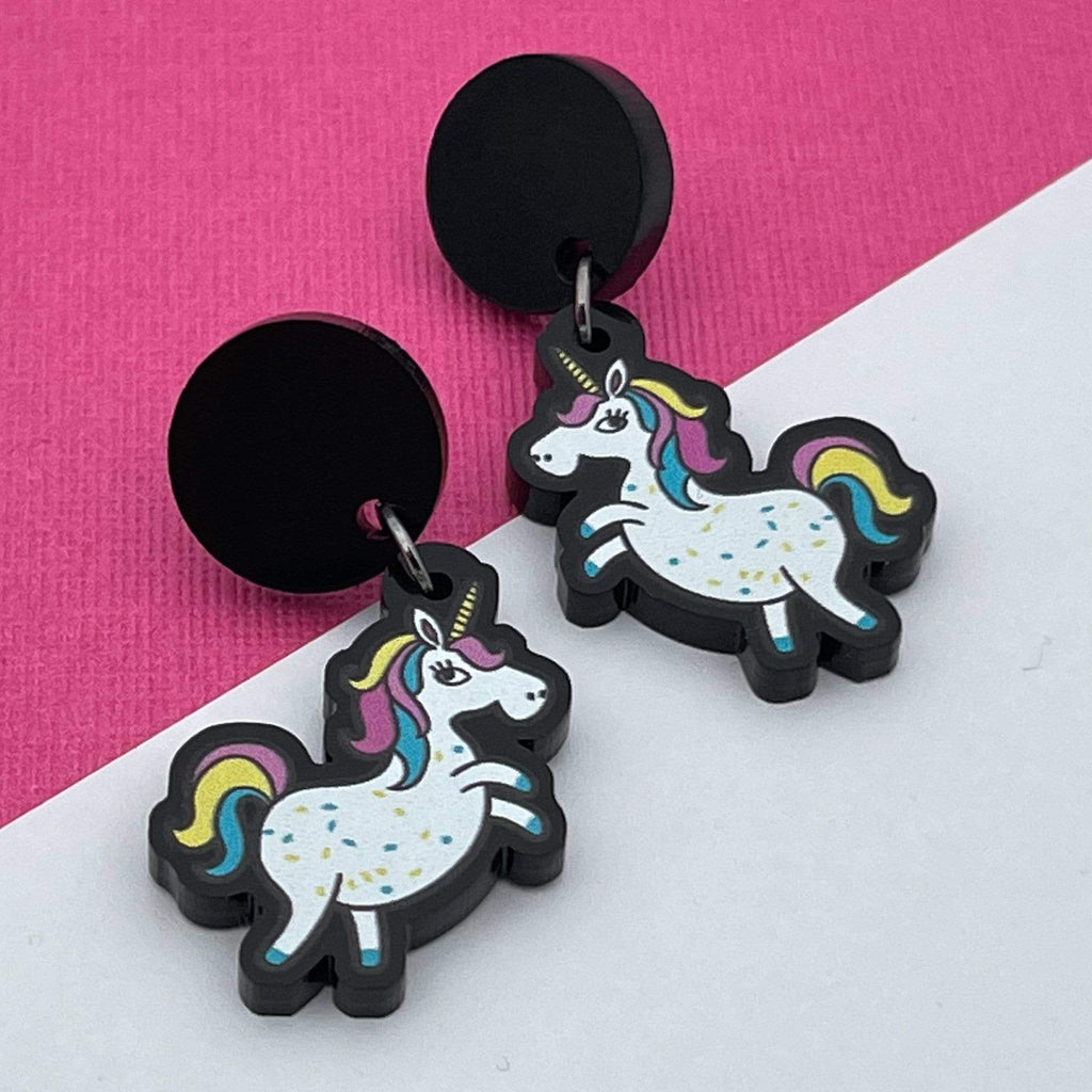 Handmade by 925Ltd Acrylic Earrings Surgical Steel Unicorn Acrylic Earrings