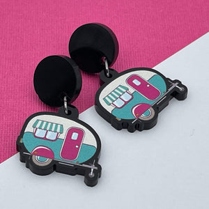 Handmade by 925Ltd Acrylic Earrings Surgical Steel Vintage Caravan Acrylic Earrings