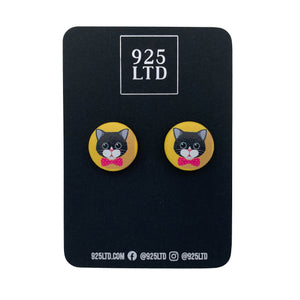 Handmade by 925Ltd Button Earrings Surgical Stainless Steel / 19mm Leatherette Black Cat Button Earrings