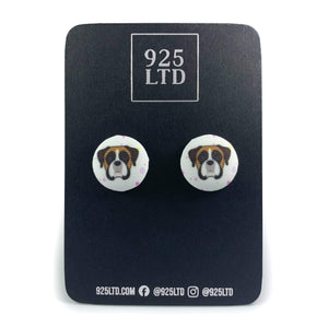 Handmade by 925Ltd Button Earrings Surgical Stainless Steel / 19mm Polyester Boxer Button Earrings