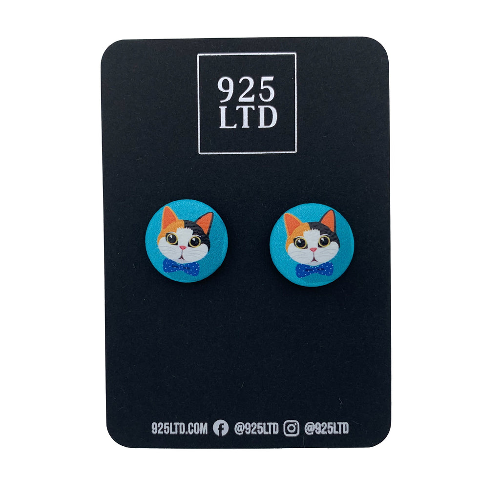 Handmade by 925Ltd Button Earrings Surgical Stainless Steel / 19mm Leatherette Calico Cat Button Earrings