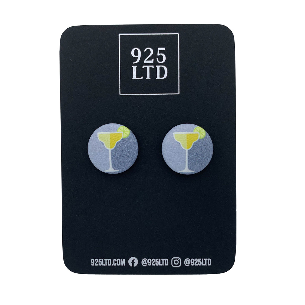 Handmade by 925Ltd Button Earrings Surgical Steel / 19mm Leatherette Daiquiri Cocktail Button Earrings