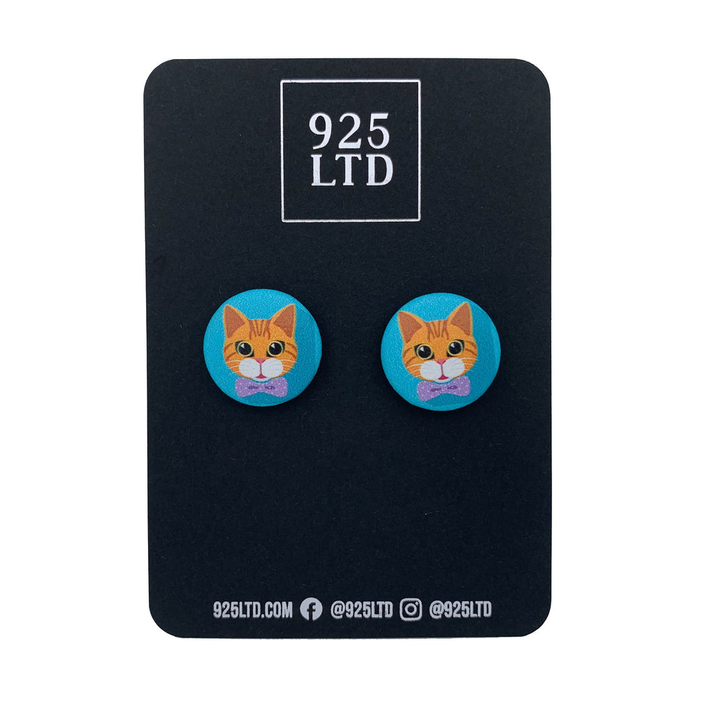Handmade by 925Ltd Button Earrings Surgical Stainless Steel / 19mm Leatherette Ginger Cat Button Earrings