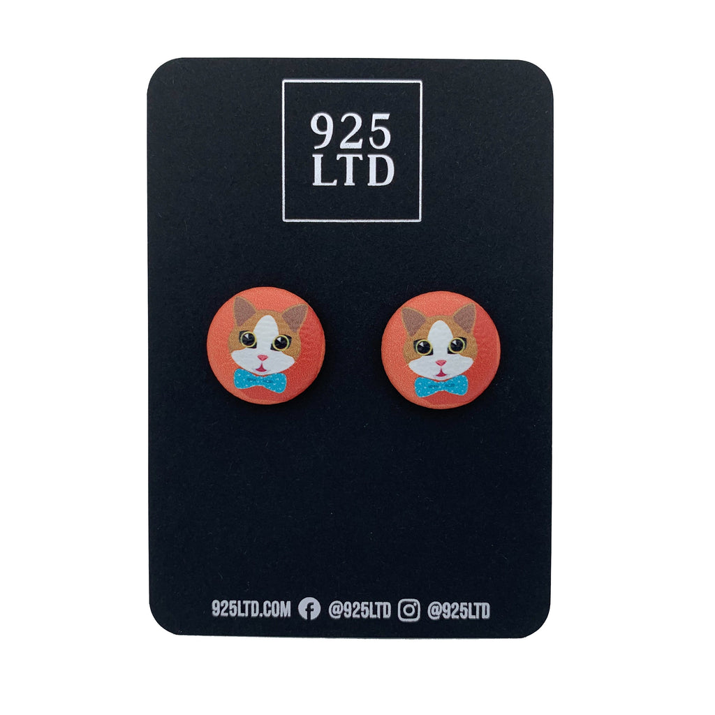 Handmade by 925Ltd Button Earrings Surgical Stainless Steel / 19mm Leatherette Ginger & White Cat Button Earrings