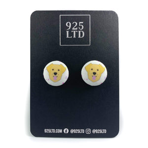 Handmade by 925Ltd Button Earrings Surgical Stainless Steel / 19mm Polyester Golden Retreiver Button Earrings
