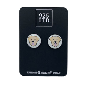 Handmade by 925Ltd Button Earrings Surgical Stainless Steel / 19mm Leatherette Golden Retreiver Button Earrings