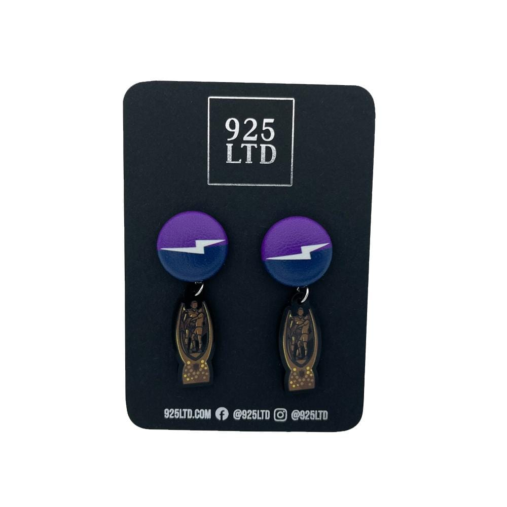 Handmade by 925Ltd Button Earrings Surgical Steel / 19mm Leatherette Melbourne Rugby League Premiership Edition Button Earrings