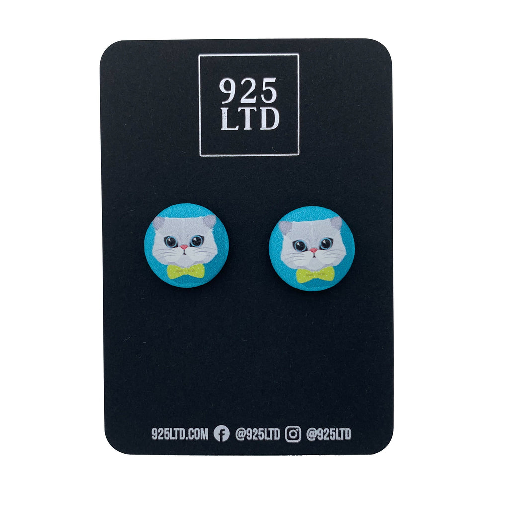 Handmade by 925Ltd Button Earrings Surgical Stainless Steel / 19mm Leatherette Persian Cat Button Earrings