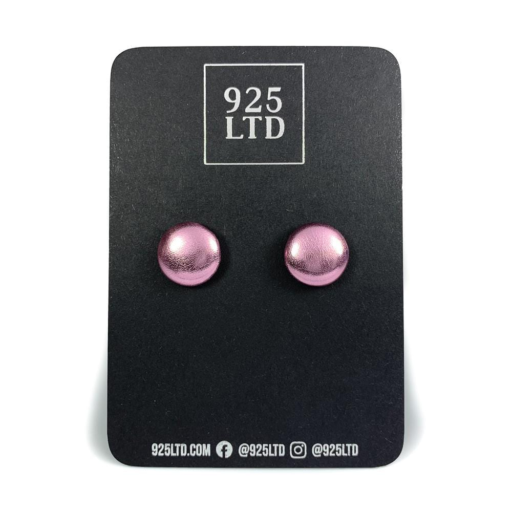 Handmade by 925Ltd Button Earrings Pink Metallic Leatherette Button Earrings
