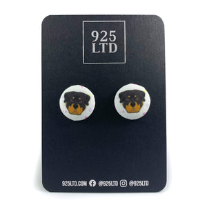 Handmade by 925Ltd Button Earrings Rottweiler Button Earrings