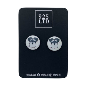 Handmade by 925Ltd Button Earrings Surgical Stainless Steel / 19mm Leatherette Schnauzer Button Earrings