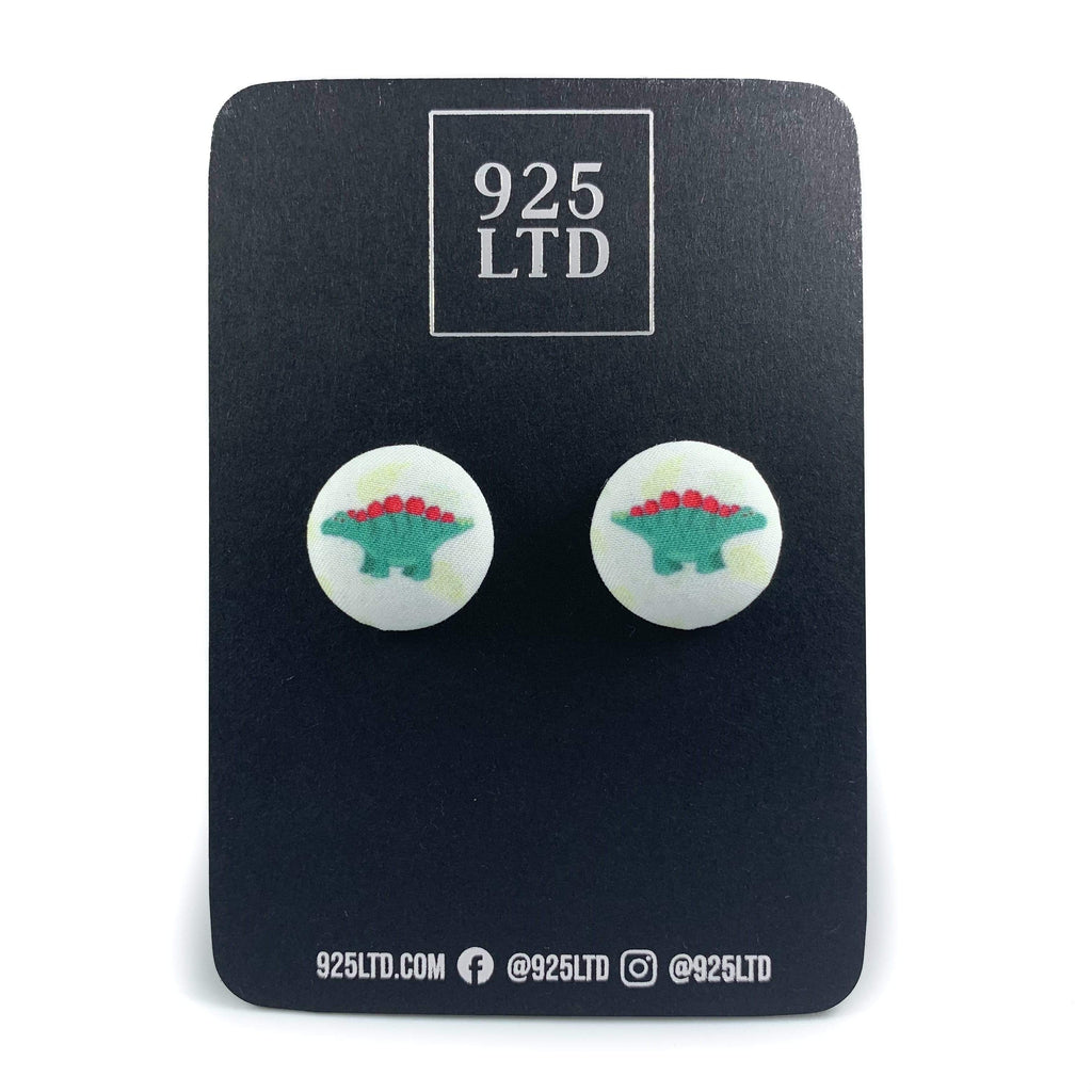 Handmade by 925Ltd Button Earrings Stegosaurus Button Earrings