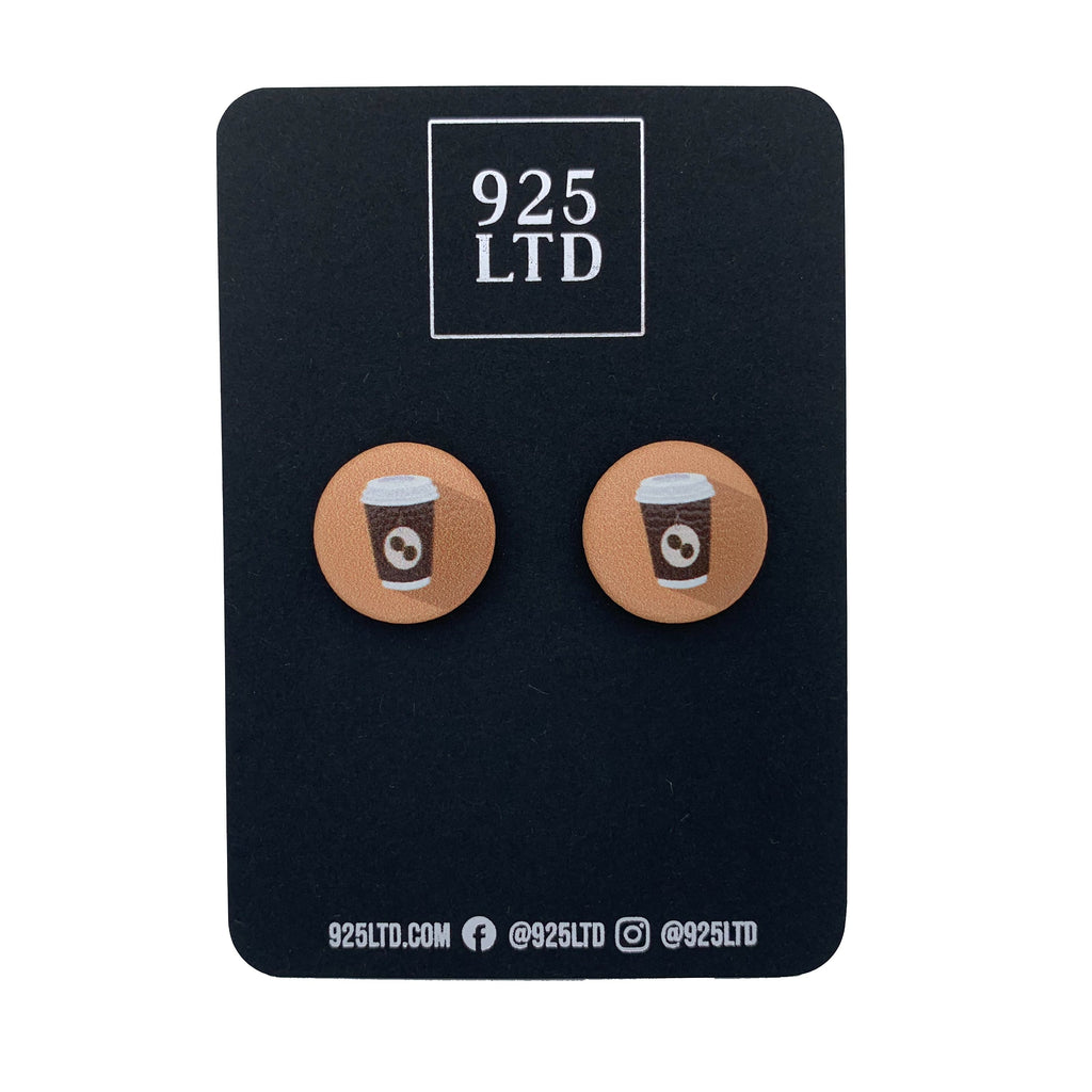 Handmade by 925Ltd Button Earrings Surgical Steel / 19mm Leatherette Takeaway Coffee Button Earrings
