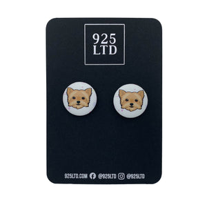 Handmade by 925Ltd Button Earrings Surgical Stainless Steel / 19mm Leatherette Yorkie Button Earrings