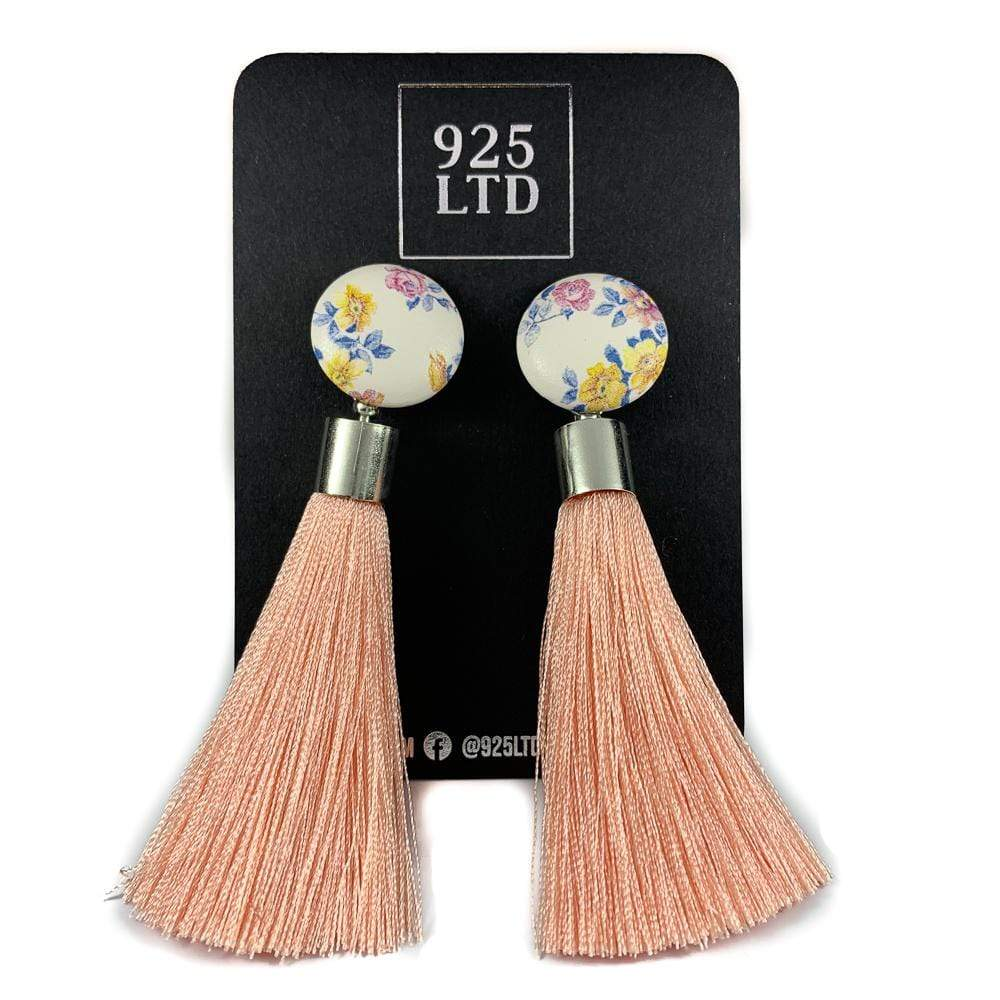 Handmade by 925Ltd Tassel Earrings Surgical Stainless Steel White & Blush Floral Large Tassel Earrings
