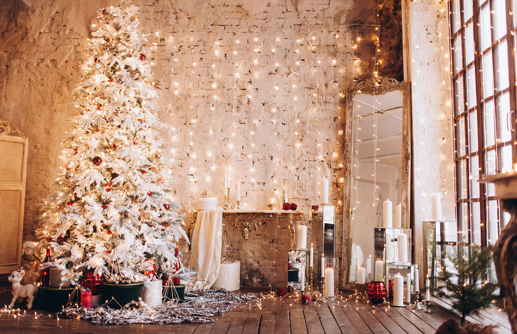 White Christmas Tree with Light Curtain in Loft