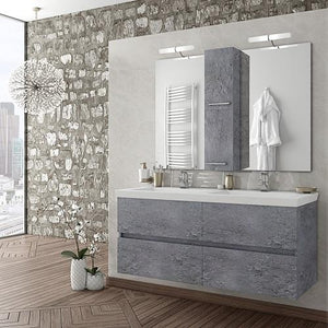 "Alexander - 48""Double Floating Vanity with Integrated Porcelain Sinks"