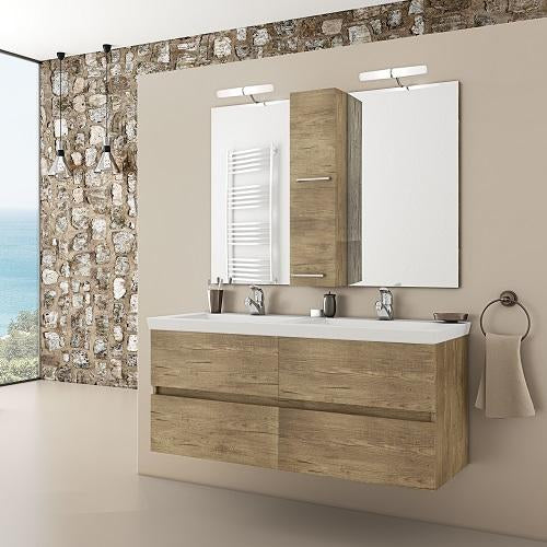 "Selene - 48"" Double Floating Vanity with Integrated Porcelain Sinks"