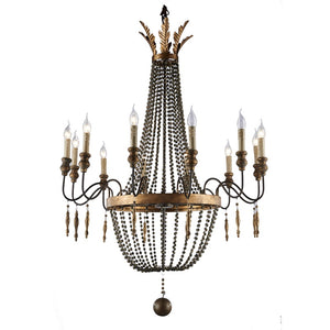 12-Light Vintage Wood and Iron Beaded Light Chandelier