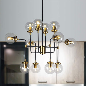 Globe Clear Glass 12-Light Chandelier, Industrial Modern Metal Black and Gold