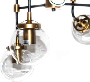 Everly - Clear Glass Globe 8-Light Chandelier - Industrial Modern Metal Black and Gold