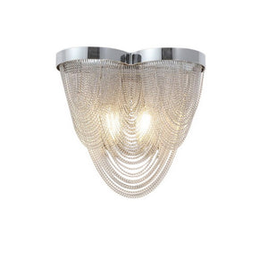 Chrome and Silver Wall Sconce Light Featuring Iron Frame and Silver Mesh Chain