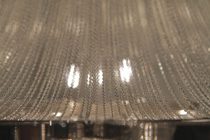 Large Chrome and Silver Flush Mount Ceiling Light  Featuring Iron Frame and Silver Mesh Chain