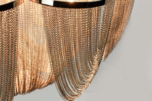 Waldorf - Large Chrome and Silver Flush Mount Ceiling Light  Featuring Iron Frame and Silver Mesh Chain