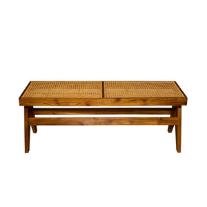 Eiffel Teak Wood Bench with Cane Seat