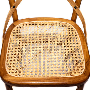 Cornelis Teak Wood Side Chair with Natural Rattan Cane Seat