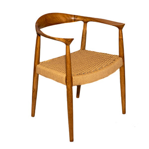 Kopenhagen Natural Teak Wood Arm Chair with Rattan Seat