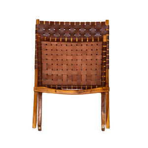 Catania Folding Cow Skin Leather Chair with Teak Frame