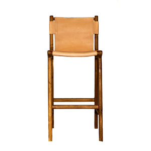 Marti Leather Bar Stool with Natural Teak Wood Frame