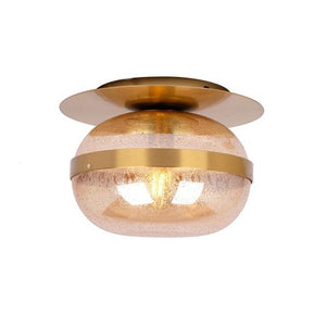 Nova Flush Mount - Brass Metal Ceiling Light with Amber Raindrop Glass Shade