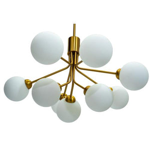Astoria - Brass Iron Chandelier with Frosted Glass Globe Shades