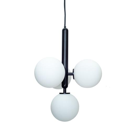 Marlow Opal - Black Metal Midcentury Modern Chandelier with 4 Glass Globe Shades
