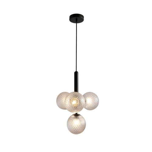 Marlow Clear - Black Metal Midcentury Modern Chandelier with 4 Glass Globe Shades