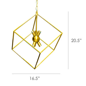 Harmony - Modern Square Iron Chandelier in Brass Finish