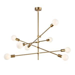 Sloan - Adjustable 8-Light Iron Sputnik Chandelier in Brass Finish